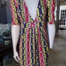 T-BAGS Los Angeles Multi Color Mod Print 100% Rayon Stretch Shift Dress L