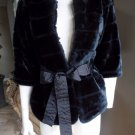 COSTA BLANCA Black Faux Fur Belted Jacket Blazer S