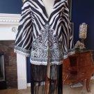 NWT Boston Proper Zebra Paisley Fringe Kimono Jacket 10