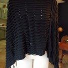 Black Fringed Poncho Sweater S/M