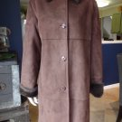 TALBOTS Brown Faux Suede Faux Fur Lined 3/4 Lenght Coat Jacket M