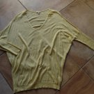 EILEEN FISHER Yellow V Neck Dolmen Sleeve Cotton/Linen Blend Sweater S
