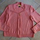ST JOHN Coral-Pink Wool Blend Zipper Front Cardigan Sweater S
