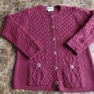 ARAN CRAFTS IRELAND 100% Wool Cable Knit Fisherman Ski Cardigan Sweater l