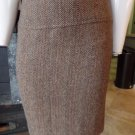 Ralph Lauren Black Label Herringbone Wool/Alpaca Brown Tweed Pencil Skirt 6