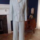 TALBOTS Blue Linen Blend Safari Blazer Pant  A Line Skirt  3 Pc Suit 8