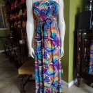 POLOGARAGE Printed Strapless Stretch Jersey Maxi Dress EUR 1