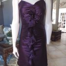 NWT $295 BETSEY JOHNSON Plum Ruffled Front 100% Silk Sheath Dress 8