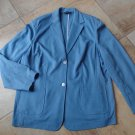 NWOT LANDS END Blue Ponte Scuba Long Sleeve Button Front Blazer Jacket 20W