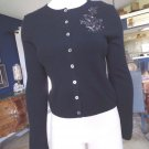 Anne Klein Black Beaded Detail Cropped 100% Cashmere Cardigan Sweater S
