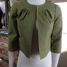 TRINA TURK Apple Green Cropped Silk/Cotton Blazer Jacket 4