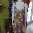 SUE WONG Printed Silk Empire Waist Dress 6