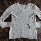 Wendy B V-Neck Cable Knit  100% Cashmere Sweater M