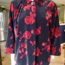 TALBOTS Floral Print Velvet 100% Cotton Swing Blazer Jacket 20WP