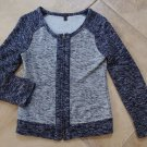 J CREW Navy Cotton Blend Zip Front Cardigan Sweater XS