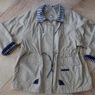 CURRENT SEEN Beige Striped Detail Windbreaker Trench Zip Front Jacket 2X