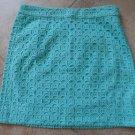 NWT J CREW Green 100% Cotton Eyelet Straight Pencil Mini Skirt  0