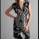 NWOT $328 Black Halo 100% Silk Dress Starburst Print Low Cut Sheath Dress 0