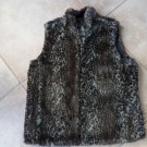 GUESS Gray Animal Print/Black Satin Reversible Faux Fur Vest L