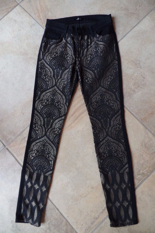 7 FOR ALL MANKIND Black Brocade Front Skinny Legging  Jeans 25