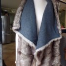 MOSSIMO Reversible Gray Faux Fur Draped Front  Vest 1X