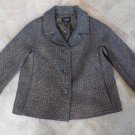 TALBOTS Brown Metallic Tweed Button Front Blazer Jacket 6
