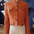 Anthropologie TAIKONKU Orange Herringbone Fitted Button Front Blazer 6