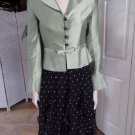 Stunning Kay Unger Black and Green Silk Blazer & Skirt Evening Suit 4