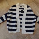 NWT EXPRESS Striped Open Front Cotton Blend Cardigan Sweater S