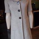 Semantiks Printed Short Sleeve 100% Cotton Tweed  Mid-Length Jacket Blazer XS