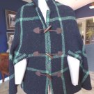DAKOTA MARTIN Gray/Green Plaid 100% Wool Poncho Cape M