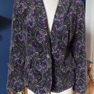 TALBOTS Printed Purple Velveteen Button Front Blazer Jacket 16P