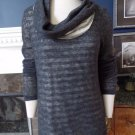 ANTHROPOLGIE MOTH Grey/White Stripe Detail Layered Cowl Neck Sweater L