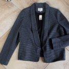 NWT ANN TAYLOR LOFT Cotton Blend Striped Open Front Blazer Jacket LP