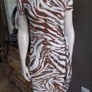 Lafayette 148 Animal Print Stretch Jersey Faux Wrap Sheath Dress M
