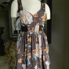 FREE PEOPLE Brown Floral Print Sleeveless Fit & Flare Dress 4