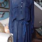 NANETTE LEPORE Navy Belted Front Front Shirt Fit & Flare Dress 16