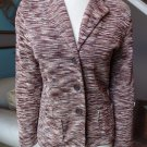 MAGASCHONI Brown Printed Button Front Cardigan Sweater Jacket  L 100% silk
