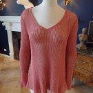 EILEEN FISHER V-Neck A-Symetrical Hem Mesh Loose Knit Linen Blend Sweater L
