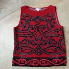 ST JOHN Red Printed Sleeveless Wool Blend Cami Shell Sweater S