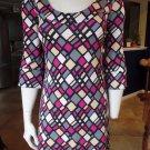 Diane Von Furstenburg Geometric Pattern Long Sleeve 100% Silk Shift Dress 0