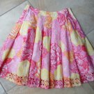LILLY PULITZER Floral Eyelet Hem 100% Cotton A Line Skirt 4