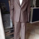 CALVIN KLEIN Brown Tone On Tone Classic Blazer And Pant Suit 6