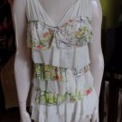 Anthropologie WESTON WEAR Ivory Floral Print Tiered Ruffle Top Shirt Blouse M