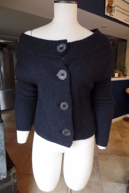 VINCE Black Alpaca Blend Wide Scoop Neck Cardigan Sweater S