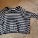 $220 Alice + Olivia Sweater Oversized Striped Wool-Blend Black/White S