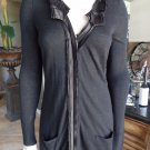 TAHARI Ribbon Detail Zip Front Longer Length Black Cardigan Sweater S
