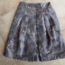 JON Purple/Beige Floral Print A Line Taffeta Skirt 6