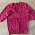 RALPH LAUREN SPORT Pink V Neck Cable Knit Sweater S