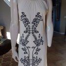 NWT BCBG MAX AZRIA Cream/Black Sleeveless Embroidered Shift Dress S